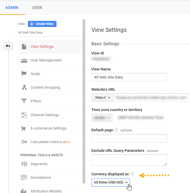 Currency settings in Google Analytics