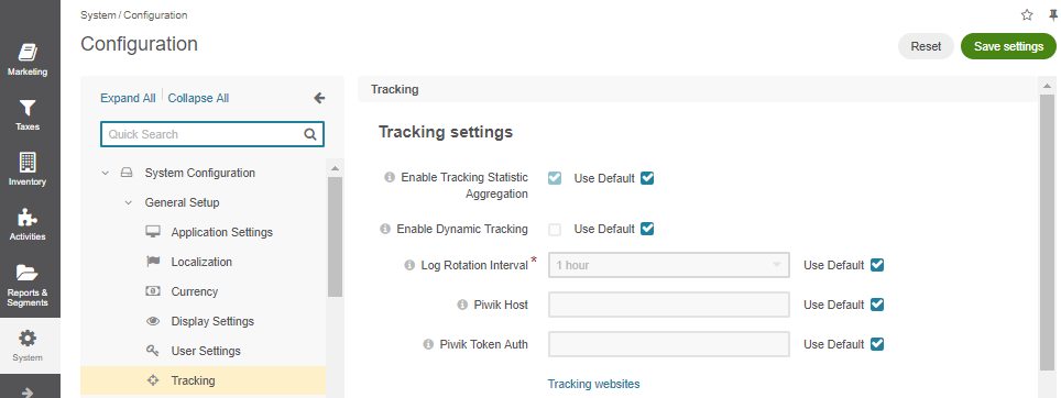 Tracking configuration