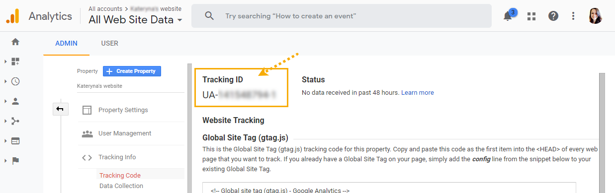 Tracking ID in Google Analytics