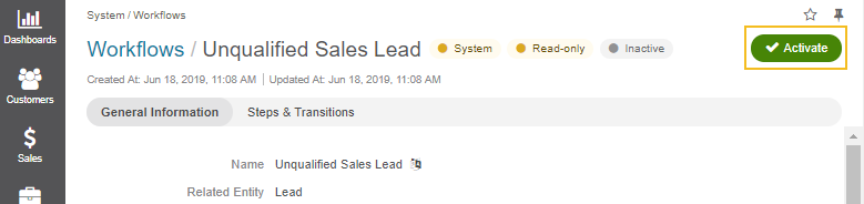 Unqualified sales lead workflow screen under system > workflows in the main menu