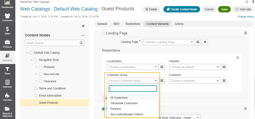 Configure web catalog node visibility for guest customers